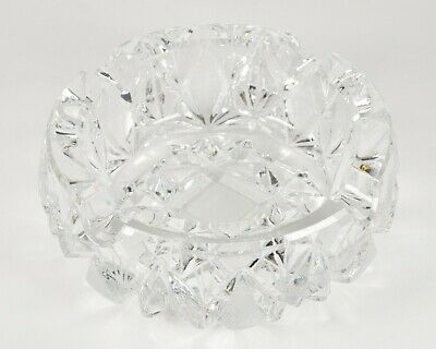 Vintage Clear Cut Glass Ashtray Thick Heavy Big Fancy Elegant Crystal Large Old
