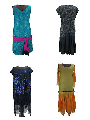 JOB LOT of 6 1930s Style Costume Dresses Mixed Colours Fancy Dress Mixed Sizes