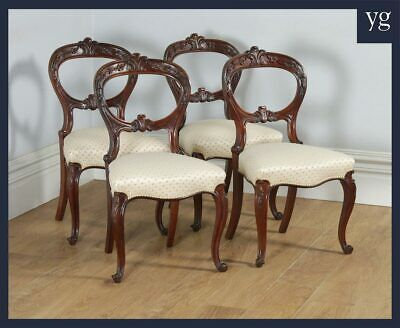 Antique Scottish Victorian Set of Four Solid Mahogany Balloon Back Dining Chairs