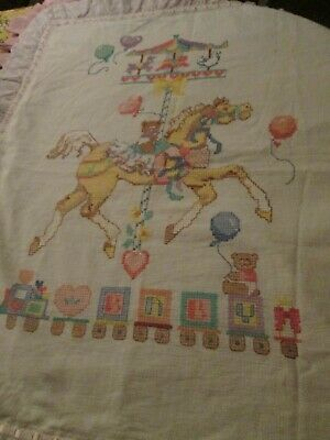 Baby Quilt Hand Cross Stitched Carousel Completed Train w/Baby Blocks Pink AS IS