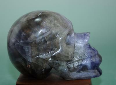 100% natural china hand carving labradorite human skeleton head statue /01 f02