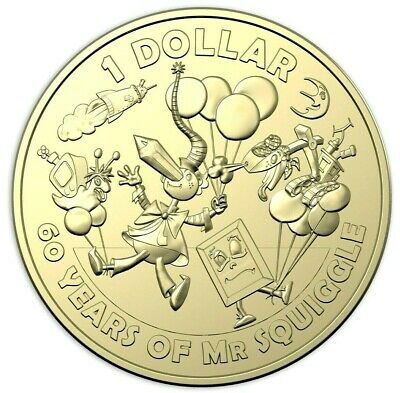 2019 $1  Coin 60th Anniversary of Mr Squiggle and Friends Unc #2 EX SET