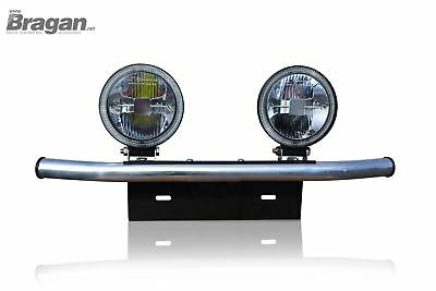 To Fit 2014+ Vauxhall Opel Vivaro Number Plate Front Bar + Round LED Spot Lights