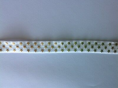 1m FOE White Gold Foil Stars Fold Over Elastic FREE POST Craft Party Hair