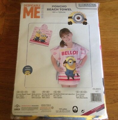 Brand New Unwrapped Despicable Me Poncho Beach Towel 60 X 120 cms 100% Cotton
