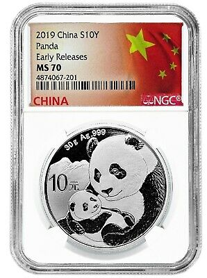 2019 China 10 Yuan Silver Panda NGC MS70 Early Releases - Flag Label