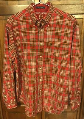 85ae15dc Tommy Hilfiger Mens M Plaid Flannel Check Button Down Shirt Long Sleeve Red