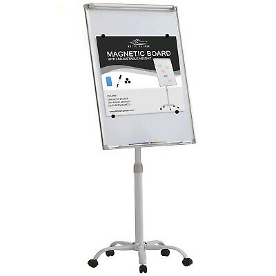 Mobile Magnetic Dry Erase White Board w/ 5 Locking Wheels Adjustable Height