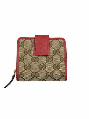 5dfd58e03271 Gucci Women's Beige Original GG Canvas Red Leather Trim French Flap Wallet  34605
