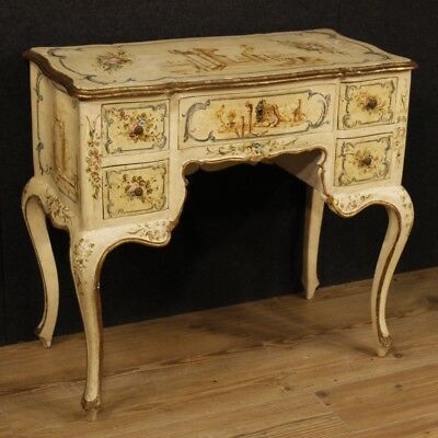 Secretary desk venetian table small table furniture lacquered wood painting