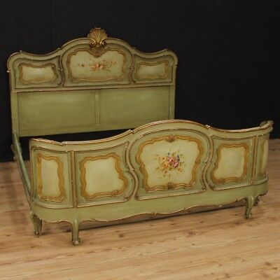 Double bed italian furniture wooden golden painting camera antique style