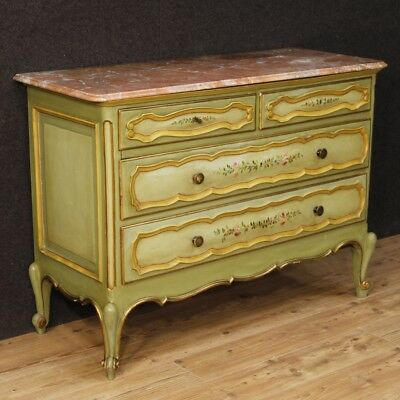 Dresser 4 chest of drawers Italian furniture painted wood golden antique style