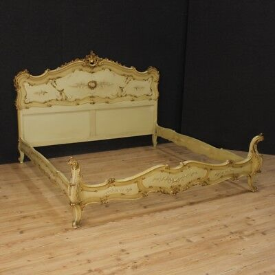 Double bed king venetian furniture wood lacquered golden painted antique style