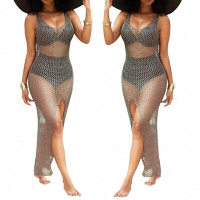 795ec1e25f Summer Rose Gold Metallic Chain Knitted Distressed Bodycon Cover Up Maxi  Dress