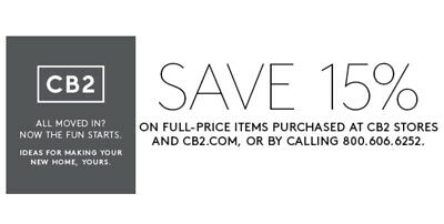 Cb2.com 15% Off Entire Purchase-1Coupon Instore/online - Incl Furniture