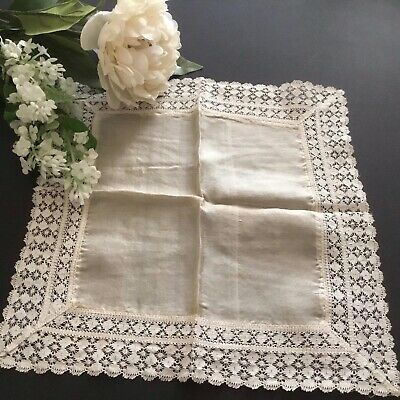 Vintage / Antique SILK & Lace Handkerchief ~ Very Pretty For Wedding Etc
