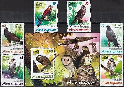 CARIBBEAN 2017 FAUNA PREDATORY BIRDS COMPLETE MNH SET with BLOCK in GOOD QUALITY