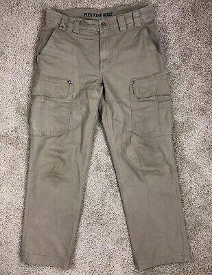 c93fe507871 Duluth Trading Co Flex Fire Hose Mens 32x30 Trim Fit Khaki Cargo Work Pants