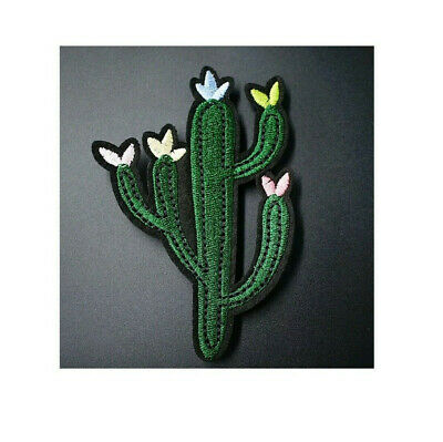Cactus W/Flowers - Desert - Southwestern - Embroidered Iron On Patch