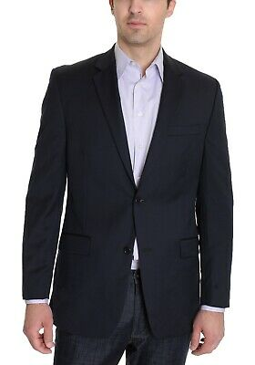Alfani RED Slim Fit Solid Navy Blue Two Button 100% Wool Blazer Sportcoat