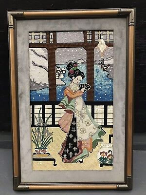 "Vintage Completed Needlepoint Canvas Art Tapestry 16.5"" X 24.5"""