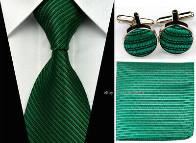 Mens Wedding Silk Tie Set Neckties Dark Green Cufflinks Hanky Ties Grooms Men