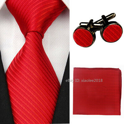 Mens Wedding Silk Tie Set Party Red Neckties Cufflinks Hanky Ties for Grooms Men