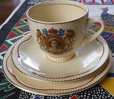 Clarice Cliff Coronation cup, saucer, plate. Regd. No. 940076