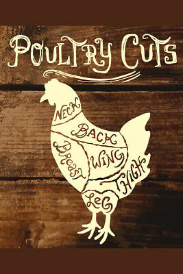 Poultry Cuts on Wooden Background Butcher Shop Diagram Poster 12x18