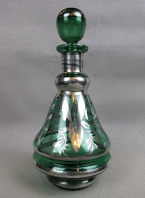 Lovely vintage green glass silver overlaid / painted SPIRITS DECANTER. 24 cm