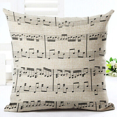Modern Musical Note Cotton Linen Square Throw Pillow Case Shell Cover Case 8C