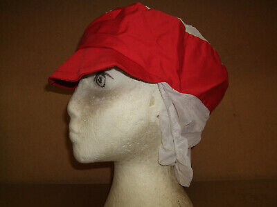 Red & White Hygiene Cap Snood c/w hairnet Catering peaked hat   x 1