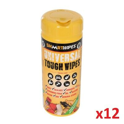 12 x 40pk Universal Tough Wipes Cleans Dirt Paint Tar Ink Cleaning Sealent