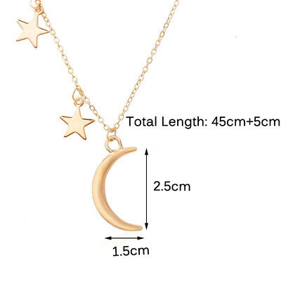 Fashion Women Gold Star Moon Metal Adjust Chain Pendant Necklace Jewelry Gift