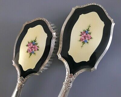 Antique Sterling Silver and Guilloche Enamel Vanity Hand Mirror and Brush