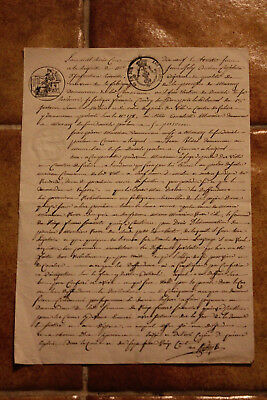 1819 French handwritten manuscript notary letter 3 stamps signed real estate