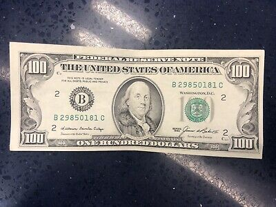 1985 Federal Reserve One Hundred 100 Dollar Franklin Note Bill B Series