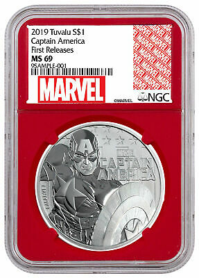 2019 Tuvalu Captain America 1 oz Silver Marvel NGC MS69 FR Red Core SKU56986
