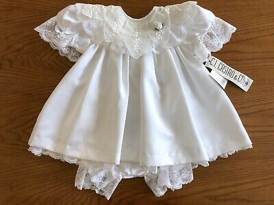 VTG Baby Girl's Christening Dress & Bloomers Baptism Wedding 12 Month NOS w/ Tag