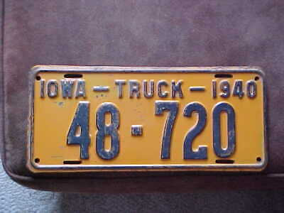 1940 Iowa Truck license plate. # 48 - 720. Iowa County.