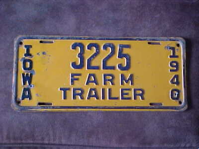 1940 Iowa Farm Trailer license plate. # 3225.