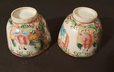 "Pair - 2"" Miniature Saki / Tea cups Famille Rose Pattern"
