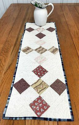 Early February 22, 1832 Nine Patch ANTIQUE Table Quilt 37 x 12 BLUEs