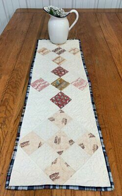Early February 22, 1832 Nine Patch ANTIQUE Table Quilt 36 x 12 BLUEs
