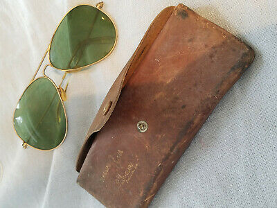 aab313d505 VINTAGE RAY BAN anti-glare Bausch   Lomb aviator green sun glasses ...