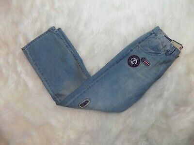 Levis 569 Loose Straight Blue Denim Jean Boys 18 Reg 29X29 Patches USA CA Camo