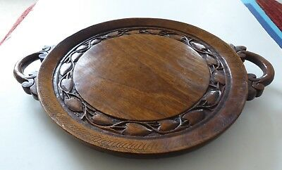 BEAUTIFUL VINTAGE HAND CARVED WOODEN HANDLED PLATTER with LEAVES