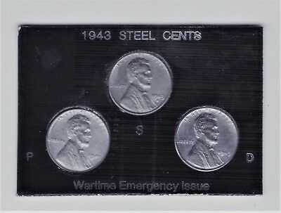 """1943 Pds Uncirculated """" Steel""""  Lincoln Cent Set In Beautiful Plastic Holder"""