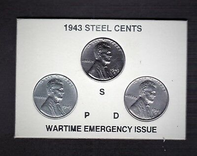 "1943 Pds Uncirculated  ""steel""  Lincoln Cent Set In Beautiful Plastic Holder"
