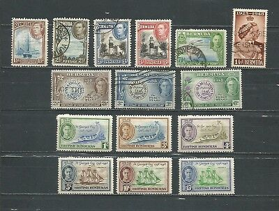 Bermuda 1937-1949 Lot 15 Stamps Used/mint Hinged (2 Scans)